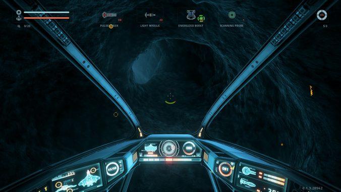 Hier steuern wir das Schiff durch einen Asteroiden.