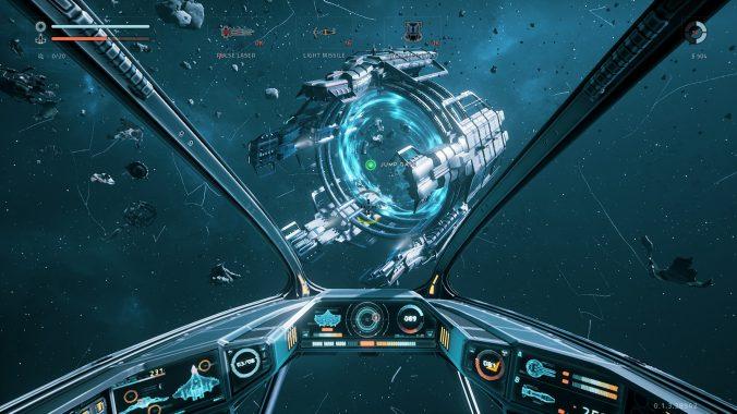 Auf zum nächsten Sektor! In der Egoperspektive hat man die Beschädigung des Schiffes immer direkt vor Augen.
